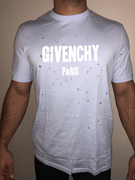Givenchy Distressed Destroyed Light Blue Short Sleeve Logo Jersey Tee T shirt Large