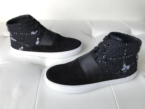 Chanel Black Blue Navy Lace Up Elastic High Top Sneakers Shoes