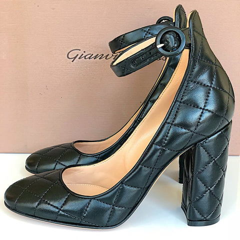 GIANVITO ROSSI GRETA DRIVER CLASSIC QUILTED LEATER PUMPS SHOES HEELS