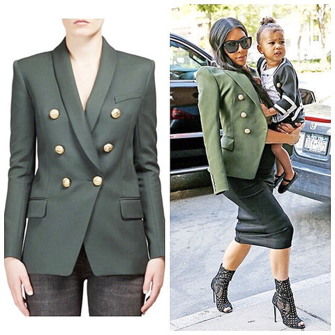 Balmain Double Breasted Green Olive Jacket Blazer Gold Buttons