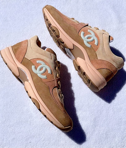 Chanel Beige Light Pink CC Logo Cruise 19 Suede Sneakers