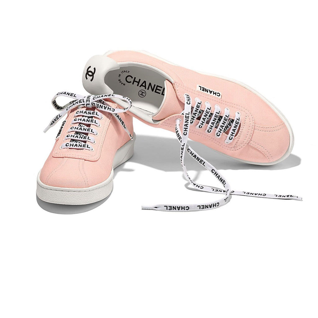 Chanel Light Pink Canvas Lace Up Bowling Sneakers Shoes