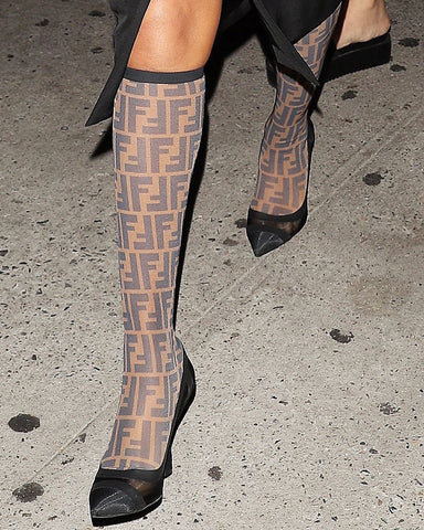 Fendi FF Logo Brown Black Mesh Knee High Sock Boots