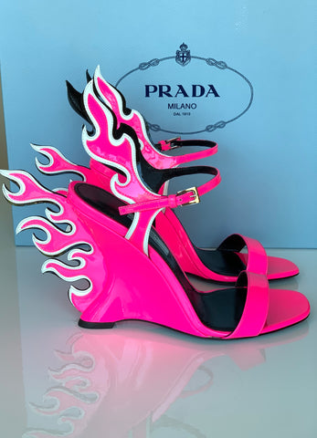PRADA FLAME ANKLE STRAP PATENT HOT PINK WEDGE OPEN TOE SANDAL WEDGES SHOES