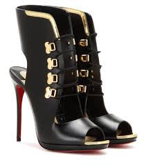 CHRISTIAN LOUBOUTIN TROUBIDA LACE FRONT BLACK METALLIC CALF LEATHER OPEN TOE SHOES BOOTIES