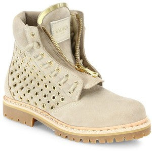 BALMAIN TIA TUNDRA SUEDE BEIGE TAN GOLD METAL GROMMETS PERFORATED ANKLE BOOT BOOTIE BOOTS