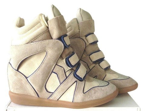 ISABEL MARANT BAYLEY TONY'S MARINE BEIGE BLUE IVORY WEDGE HIGH TOP SNEAKERS
