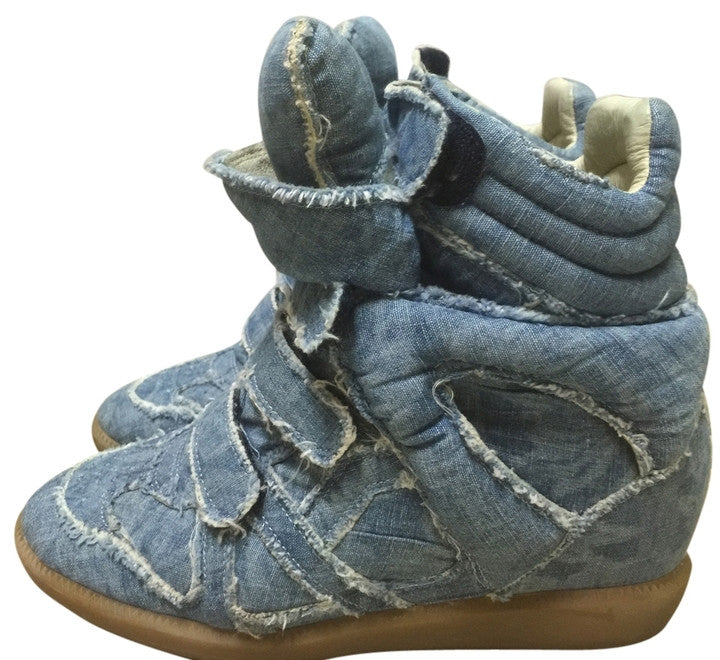 20a43a93a646 ISABEL MARANT BAYLEY OVER BASKET DENIM BLUE HOT JEANS WEDGE HIGH TOP  SNEAKERS PRE-OWNED