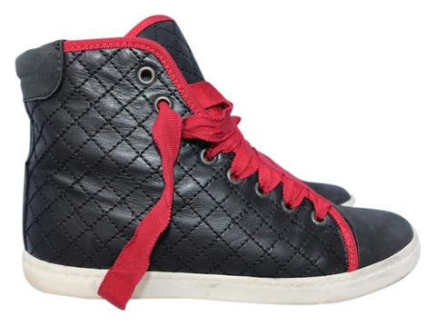 LANVIN BLACK LEATHER QUILTED RED LACES HIGH TOP TOPS SNEAKERS SNEAKER SHOES