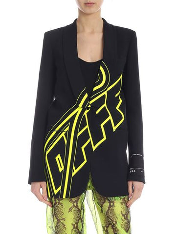 OFF-WHITE C/O VIRGIL ABLOH SMOKING JACKET IN BLACK WITH NEON YELLOW PRINT LOSE FIT BLAZER