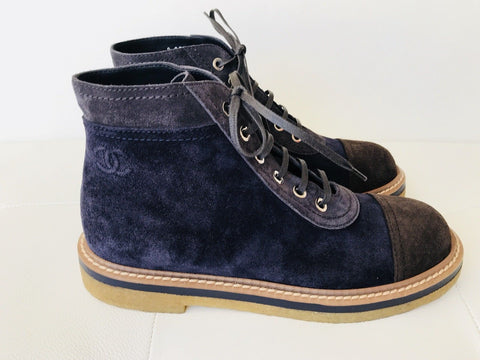 CHANEL BLUE NAVY DARK BROWN CAP TOE SUEDE LACE UP ANKLE COMBAT BOOT BOOTIES