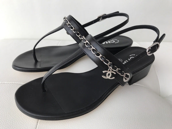 CHANEL BLACK LEATHER SILVER CHAIN BUCKLE SLINGBACK SANDALS SANDAL THONG SHOES
