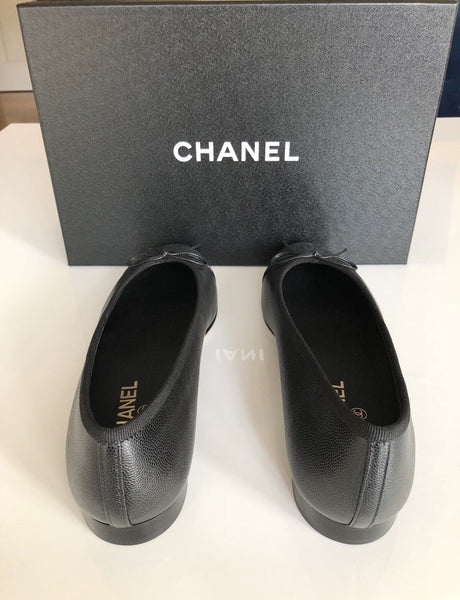 CHANEL BLACK GRAINED LEATHER CAVIAR BALLET BALLERINA FLAT FLATS SHOES