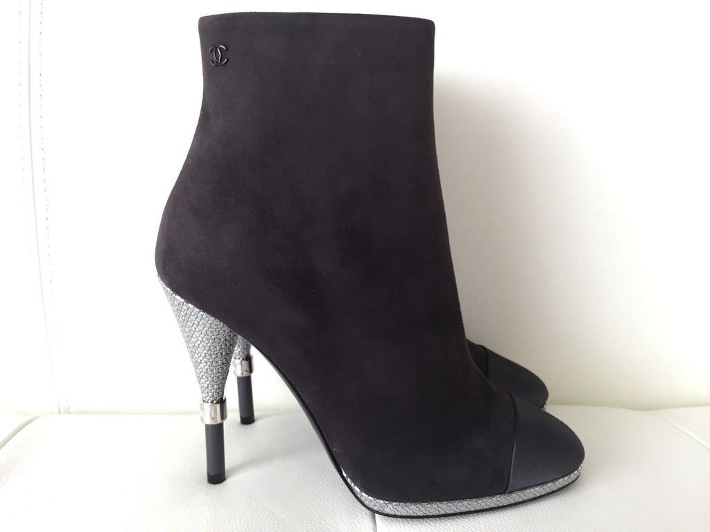 CHANEL GRAY SUEDE LEATHER SATIN CAPTOE BOOTIES SILVER HEEL ANKLE BOOTS