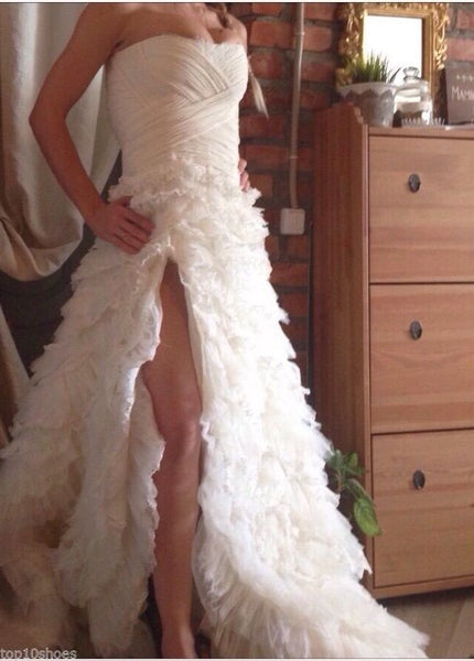 CUSTOM MADE BRIDAL WHITE SILK ORGANZA LACE WEDDING OPEN SHOULDERS DRESS GOWN S