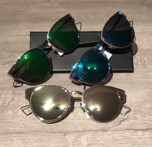 DIOR SCULPT 53MM CAT EYE MIRRORED METALLIC SUNGLASSES