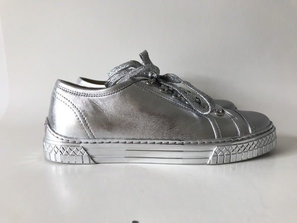 CHANEL 2017 SILVER LEATHER LACE UP SNEAKERS TRAINERS SHOES