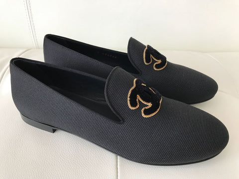 CHANEL BLACK FABRIC GOLD CHAIN AND BLACK VELVET CC LOGO LOAFERS