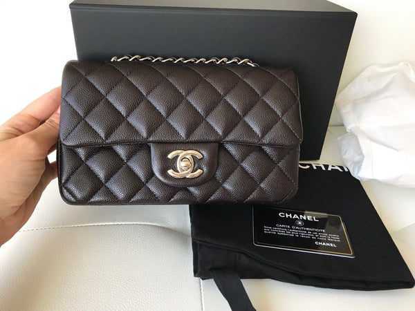 CHANEL MINI RECTANGULAR FLAP BAG QUILTED BROWN CAVIAR LEATHER SILVER HW