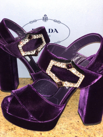 PRADA CRISS CROSS VELVET OPEN TOE PLATFORM CRYSTAL BUCKLE PURPLE SHOES PUMPS SANDALS
