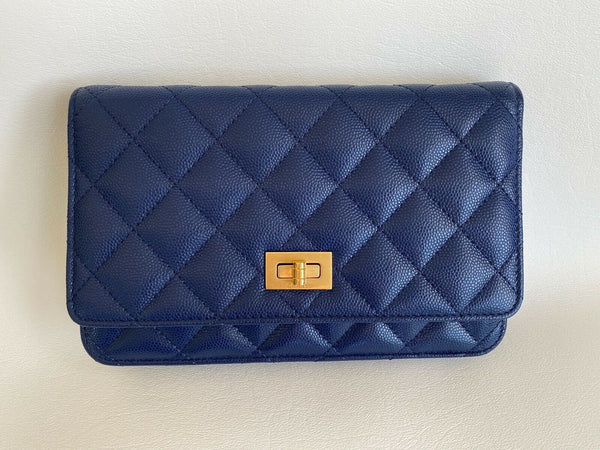 CHANEL BLUE CAVIAR LEATHER CROSSBODY SMALL BAG WOC WALLET BRASS GHW 2.55