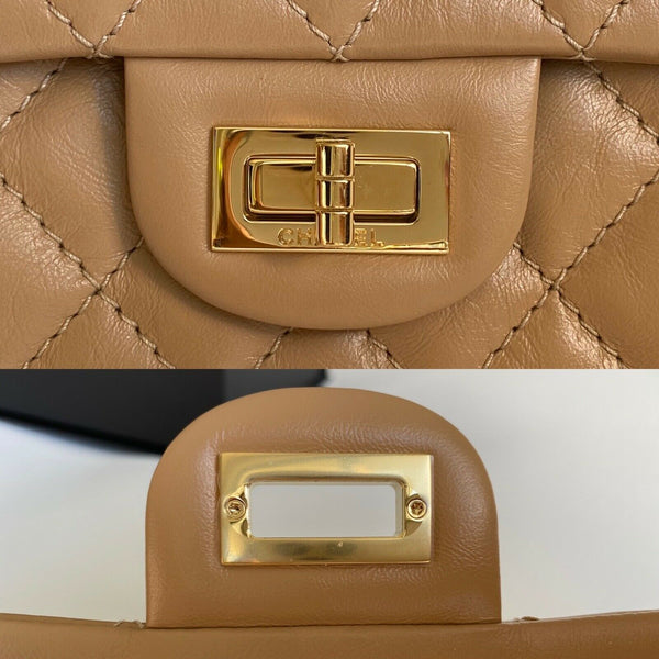 CHANEL 2.55 REISSUE MINI RECTANGULAR FLAP BAG BEIGE QUILTED CALFSKIN LEATHER GHW