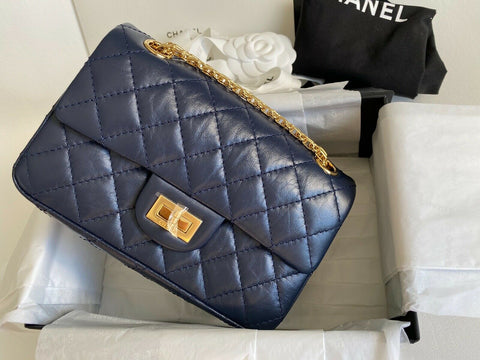 CHANEL 2.55 REISSUE MINI RECTANGULAR FLAP BAG NAVY QUILTED CALFSKIN LEATHER GHW