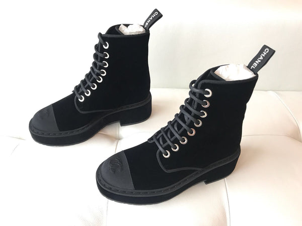 Chanel Black Velvet Lace Up CC Logo Tall Ankle Combat Boots Booties