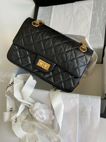 CHANEL 2.55 BLACK REISSUE MINI RECTANGULAR FLAP BAG QUILTED CALFSKIN LEATHER GHW