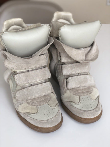 ISABEL MARANT BAYLEY TONY'S BEIGE GRAY WEDGE HIGH TOP SNEAKERS