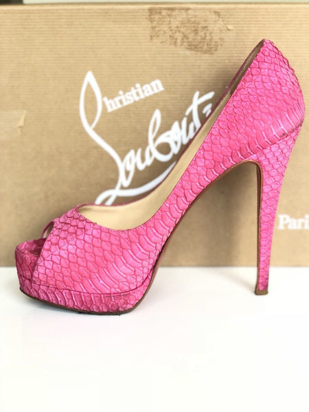 CHRISTIAN LOUBOUTIN ALTADAMA 140 WATERSNAKE GRENADINE SNAKE PINK PUMP SHOES