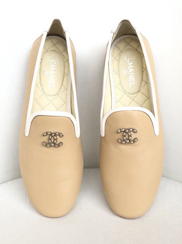 Chanel CC Logo Chain Beige Leather White Trim Smoking Slippers Ballet Flats Shoes
