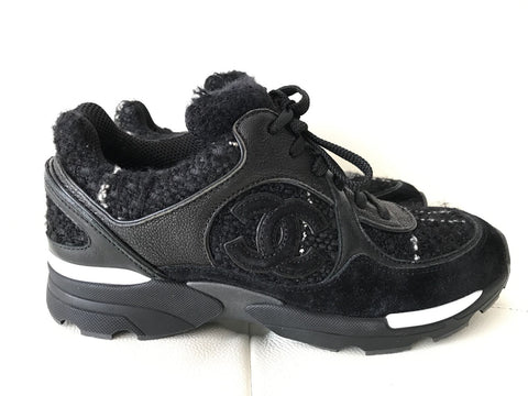 CHANEL BLACK TWEED SUEDE LEATHER SNEAKERS SHOES TRAINERS