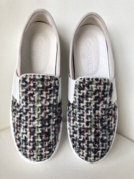CHANEL PLAID TWEED SUEDE GREY SLIP ON LOAFERS MOCCASIN SHOES