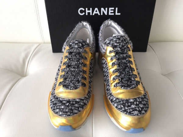 CHANEL BLACK GRAY TWEED GOLD SNEAKERS TRAINERS