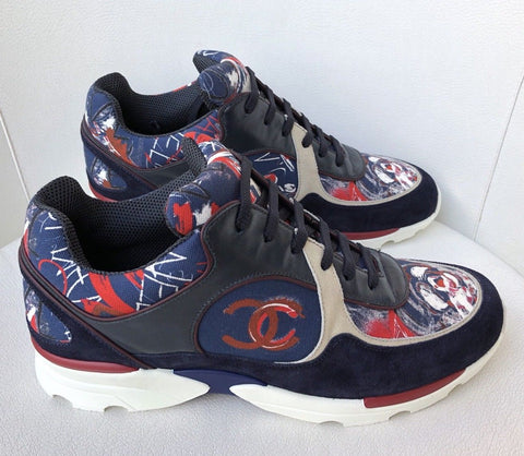 CHANEL NAVY GRAFFITI FABRIC RUNWAY CC LOGO RED WHITE TRAINERS SNEAKERS SHOES