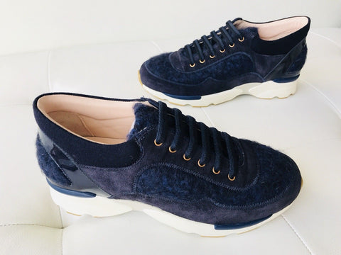 CHANEL CC TWEED LOGO NAVY BLUE SUEDE SNEAKERS TENNIS SHOES TRAINERS