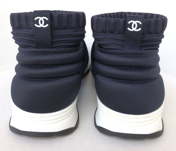 CHANEL CC LOGO NAVY BLUE  STRETCH HIGH TOP SNEAKERS SOCKS SHOES TRAINERS