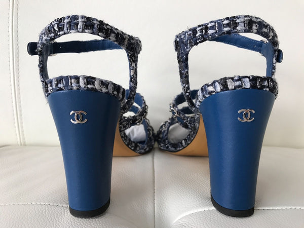CHANEL BLUE LEATHER MULTICOLOR TWEED CHAINED CHAIN SANDALS