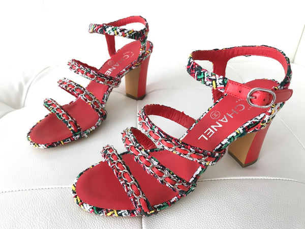 $1.1K CHANEL RED LEATHER MULTICOLOR TWEED CHAINED CHAIN SANDAL SANDALS OPEN TOE SHOES