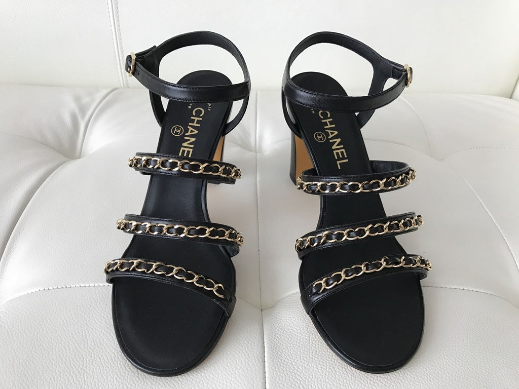 e2c7ac1cf332 ... CHANEL BLACK LEATHER GOLD CHAIN CHAINED CHAIN SANDAL SANDALS SHOES ...