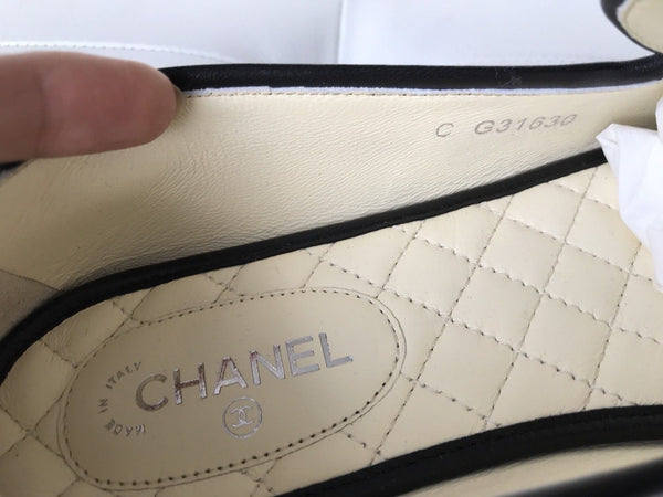Chanel CC Logo Chain Blue Leather Black Trim Smoking Slippers Flats Shoes