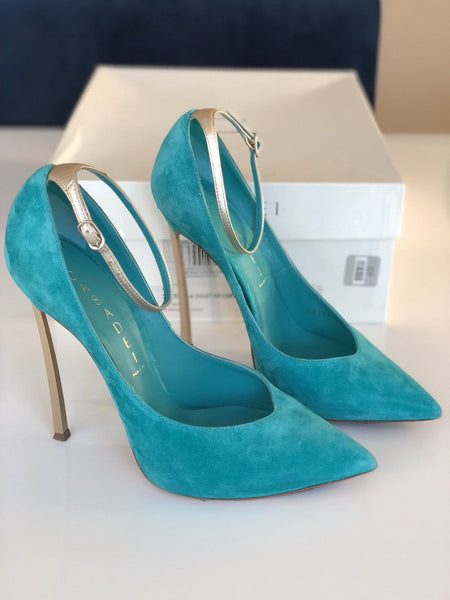 CASADEI BLADE METAL HEEL POINTED TOE TURQUOISE GREEN ANICE SUEDE PUMP SHOES