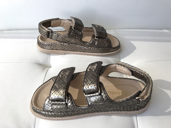 CHANEL BRONZE GOLD SNAKESKIN PYTHON CC LOGO CHAIN SANDALS SANDAL FLATS SHOES