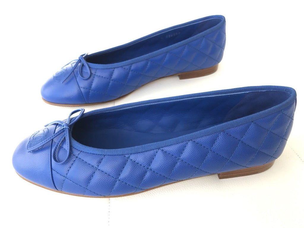 CHANEL ROYAL BLUE LEATHER QUILTED CAP TOE BALLET BALLERINA FLAT FLATS SHOES
