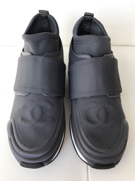 CHANEL CC LOGO GRAY STRETCH HIGH TOP SNEAKERS SOCKS SHOES TRAINERS