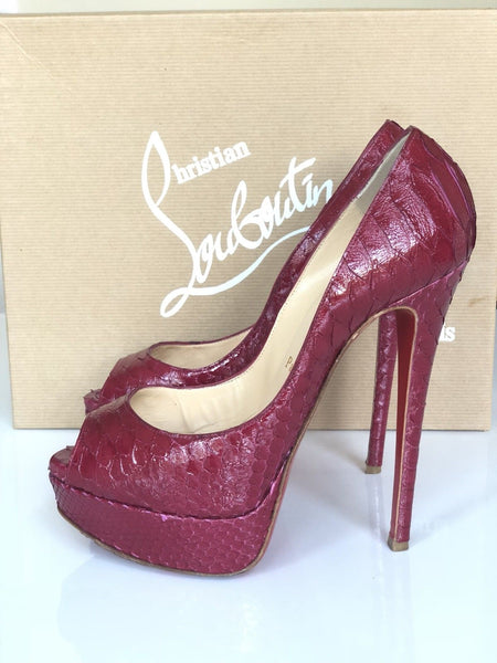 CHRISTIAN LOUBOUTIN LADY PEEP PYTHON 150 PIVOINE OPEN TOE PUMPS SHOES PRE-OWNED