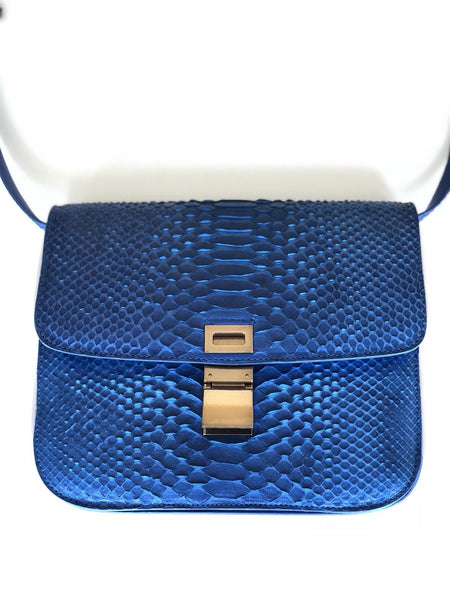 Celine Python Royal Blue Box GHW Medium Flap Handbag Cross Body Bag