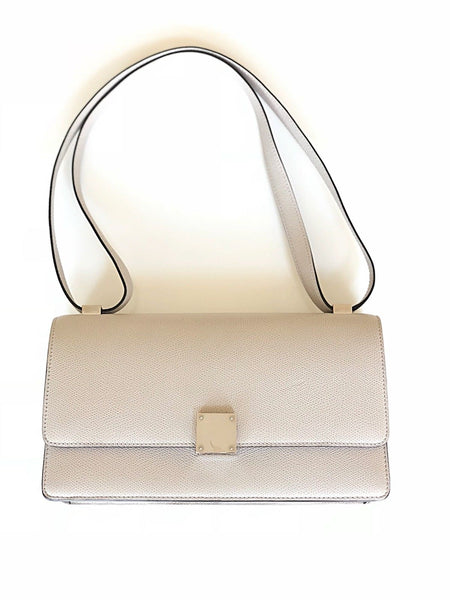 Celine Case Medium Light Gray Grey PHW Leather Flap Shoulder Handbag Bag