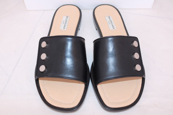BALENCIAGA STUDDED BLACK LEATHER SLINGBACK FLATS FLAT SANDALS SLIDES SHOES